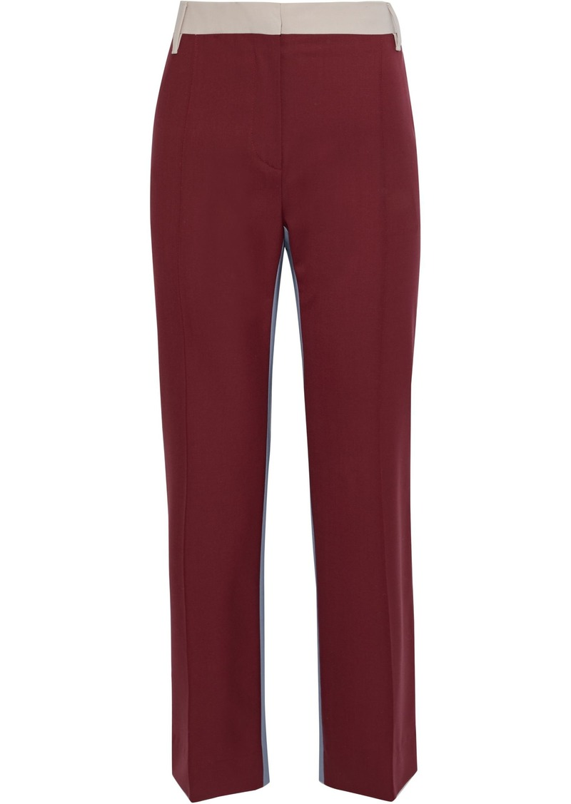 Valentino Woman Color-block Wool-blend Straight-leg Pants Claret