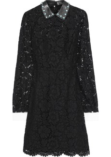 Valentino Woman Convertible Cotton-blend Corded Lace Mini Dress Black