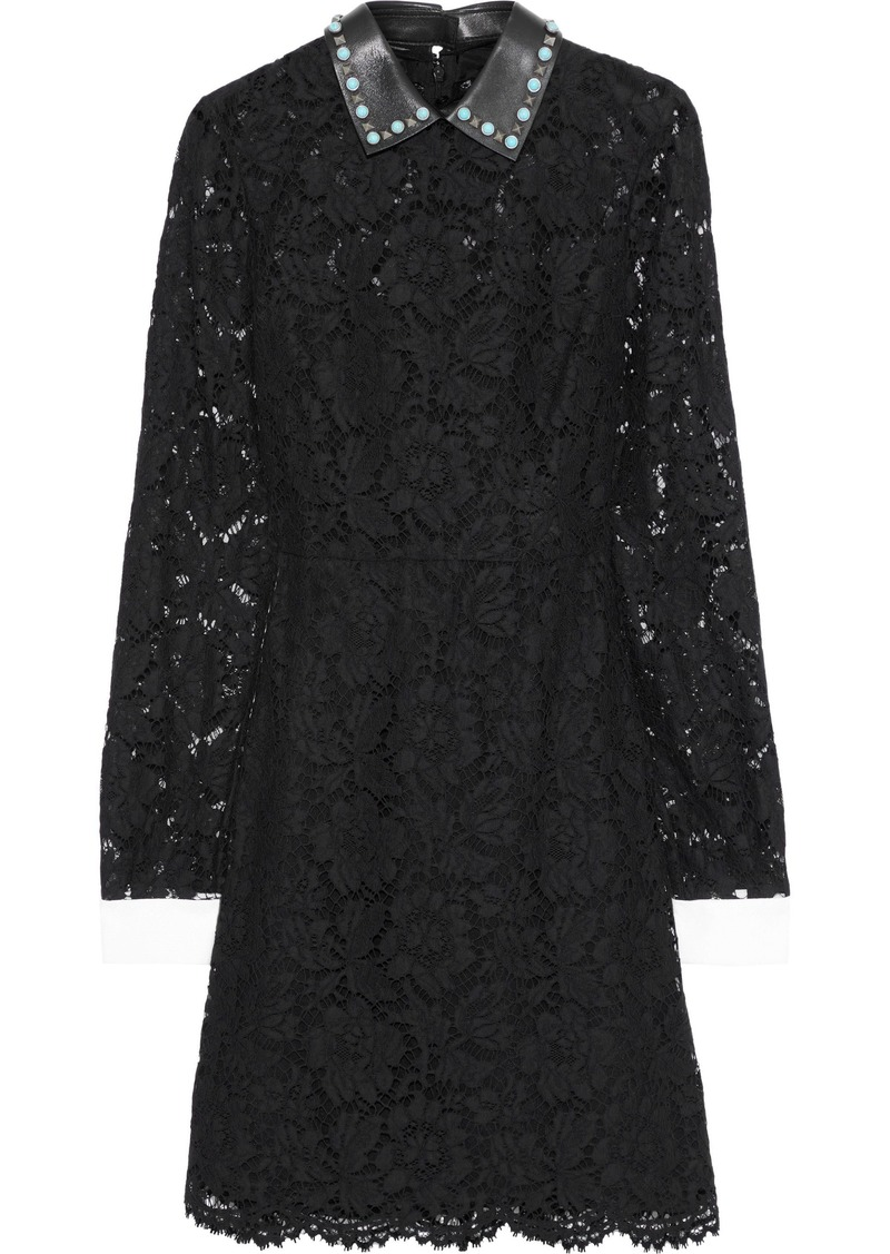 Valentino Woman Convertible Cotton-blend Corded Lace Mini Dress Black