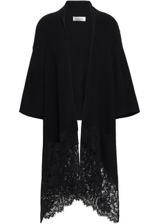 Valentino Woman Corded Lace-paneled Draped Wool Cardigan Black