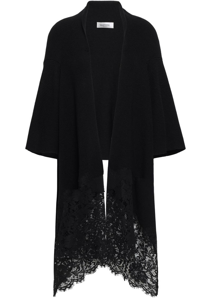 Valentino Woman Corded Lace-paneled Draped Wool Cardigan Black