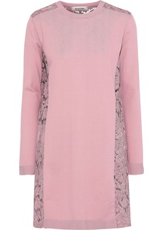 Valentino Woman Corded Lace-paneled Ponte Mini Dress Baby Pink