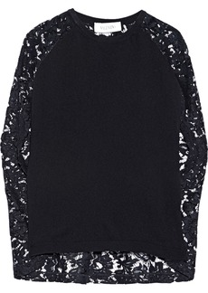 Valentino Woman Corded Lace-paneled Wool And Cashmere-blend Top Black
