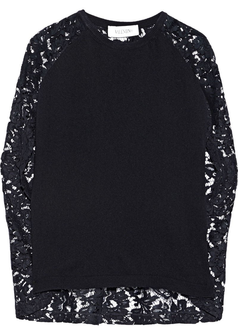 Valentino Woman Corded Lace-paneled Ribbed Wool And Cashmere-blend Top Black