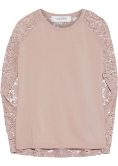 Valentino Woman Corded Lace-paneled Ribbed Wool And Cashmere-blend Top Blush
