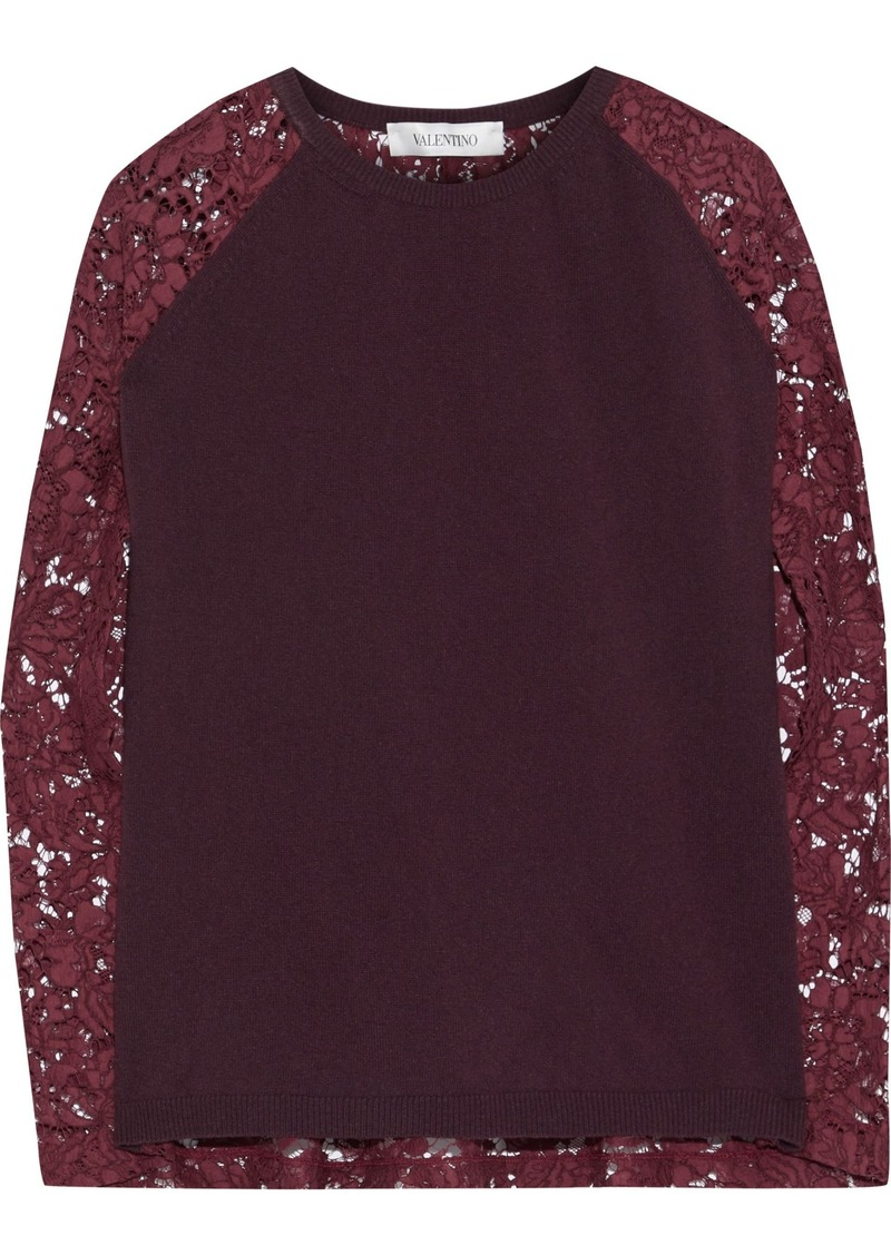 Valentino Woman Corded Lace-paneled Wool And Cashmere-blend Top Plum