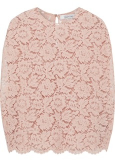 Valentino Woman Cotton-blend Corded Lace Blouse Blush