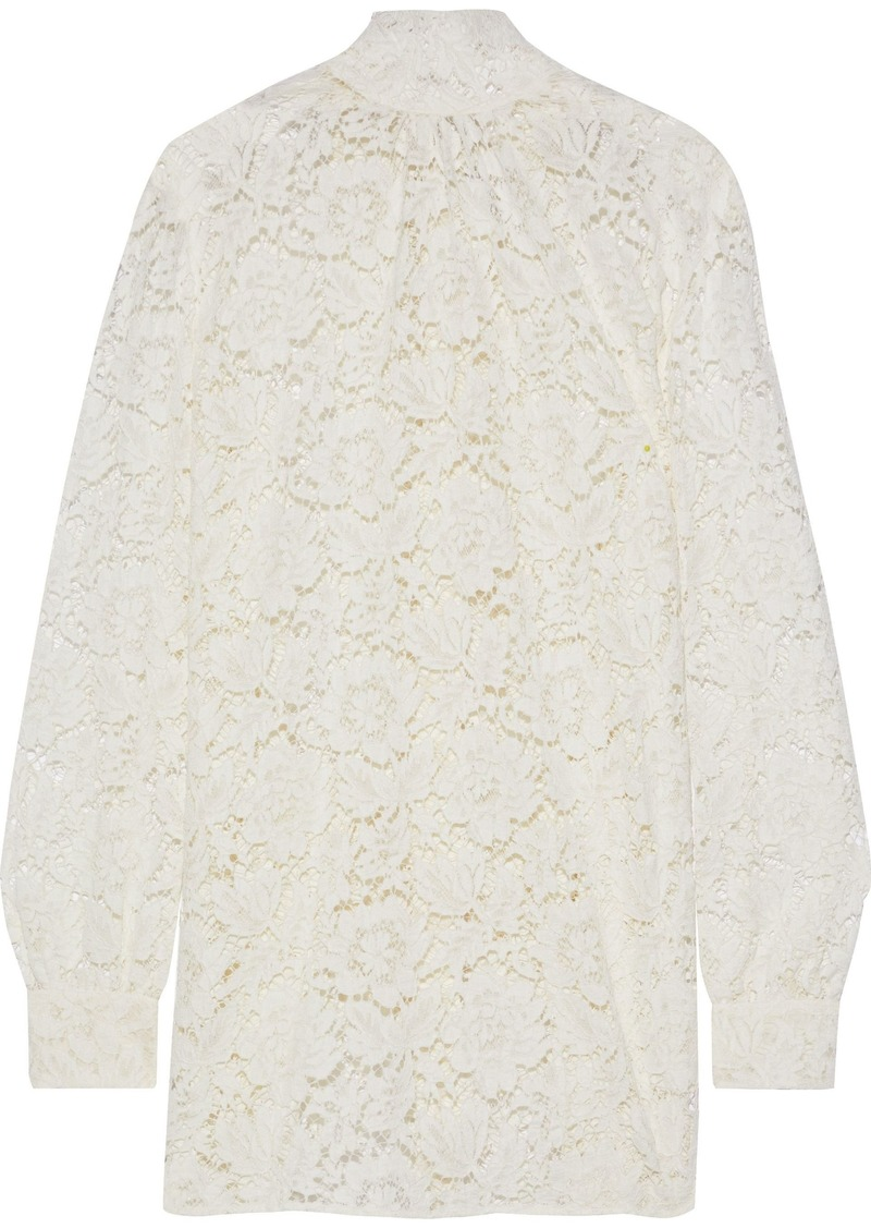Valentino Woman Cotton-blend Corded Lace Blouse Off-white