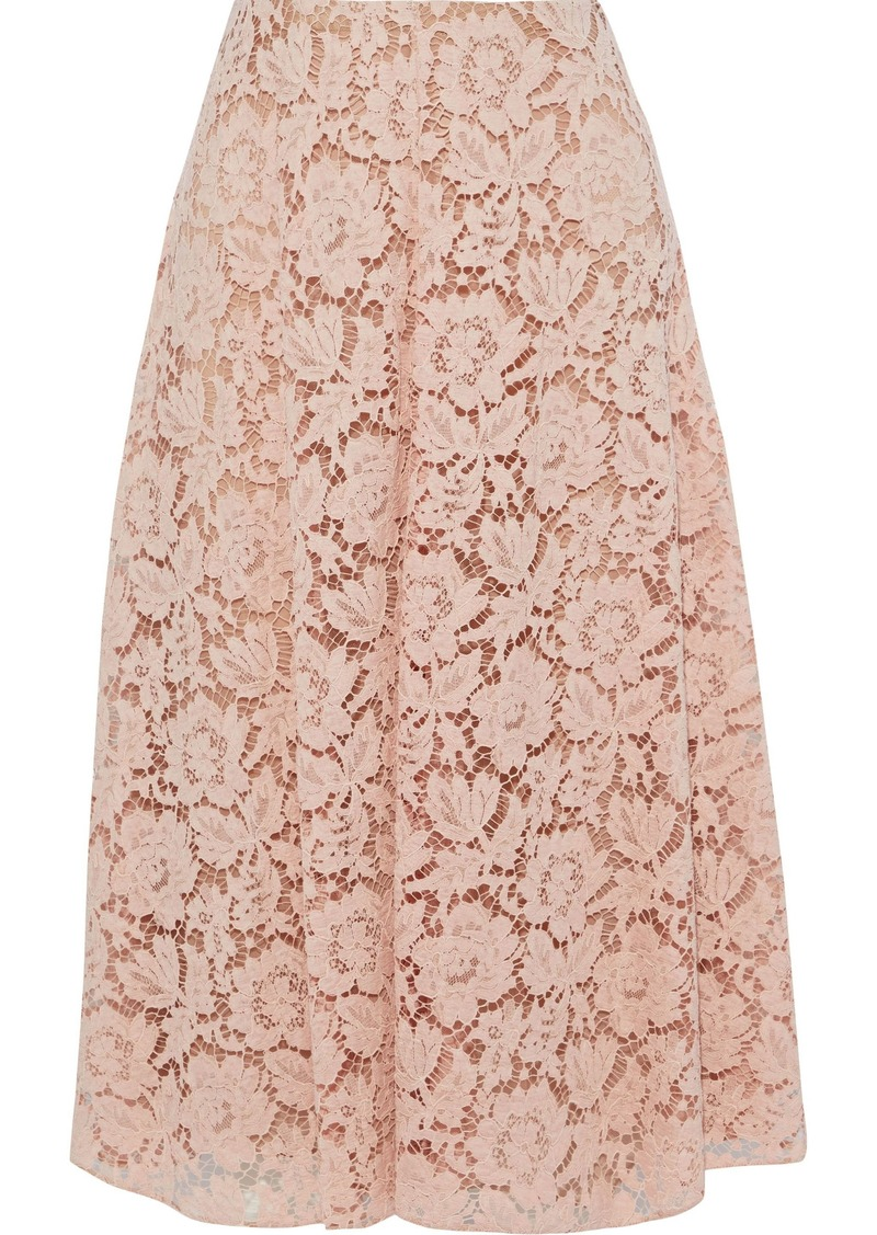Valentino Woman Cotton-blend Corded Lace Midi Skirt Blush