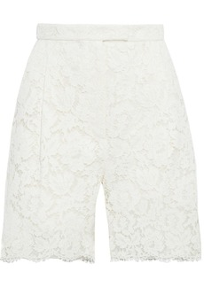 Valentino Woman Cotton-blend Corded Lace Shorts Off-white