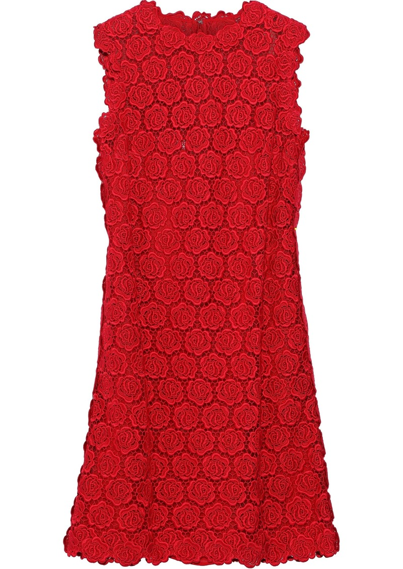 Valentino Woman Cotton-blend Guipure Lace Mini Dress Red