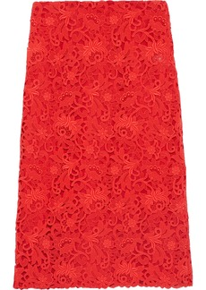Valentino Woman Cotton-blend Guipure Lace Pencil Skirt Tomato Red