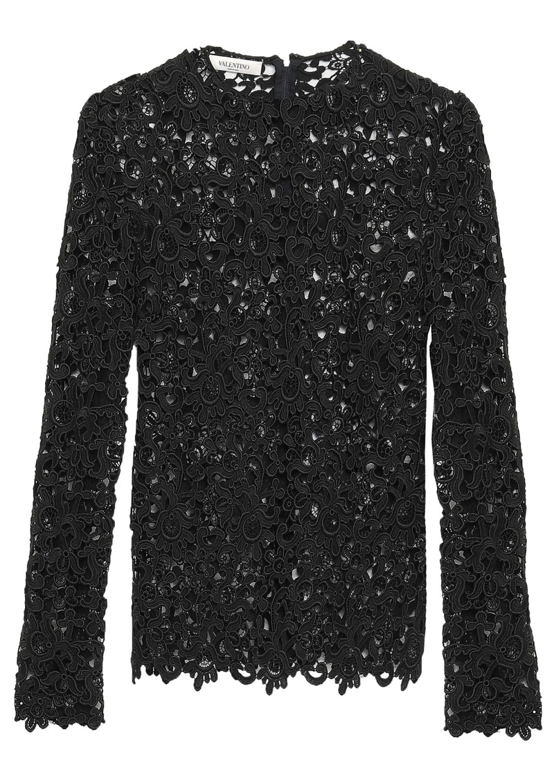 Valentino Woman Cotton-blend Guipure Lace Top Black