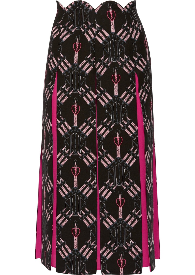 Valentino Woman Crepe-paneled Printed Wool And Silk-blend Midi Skirt Black
