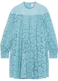 Valentino Woman Crepe-paneled Silk-blend Corded Lace Mini Dress Light Blue