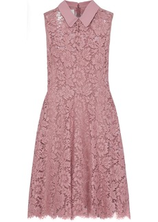 Valentino Woman Crepe-trimmed Cotton-blend Corded Lace Mini Dress Baby Pink