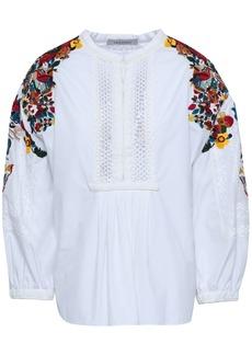 Valentino Woman Crochet-paneled Embellished Cotton-poplin Blouse White