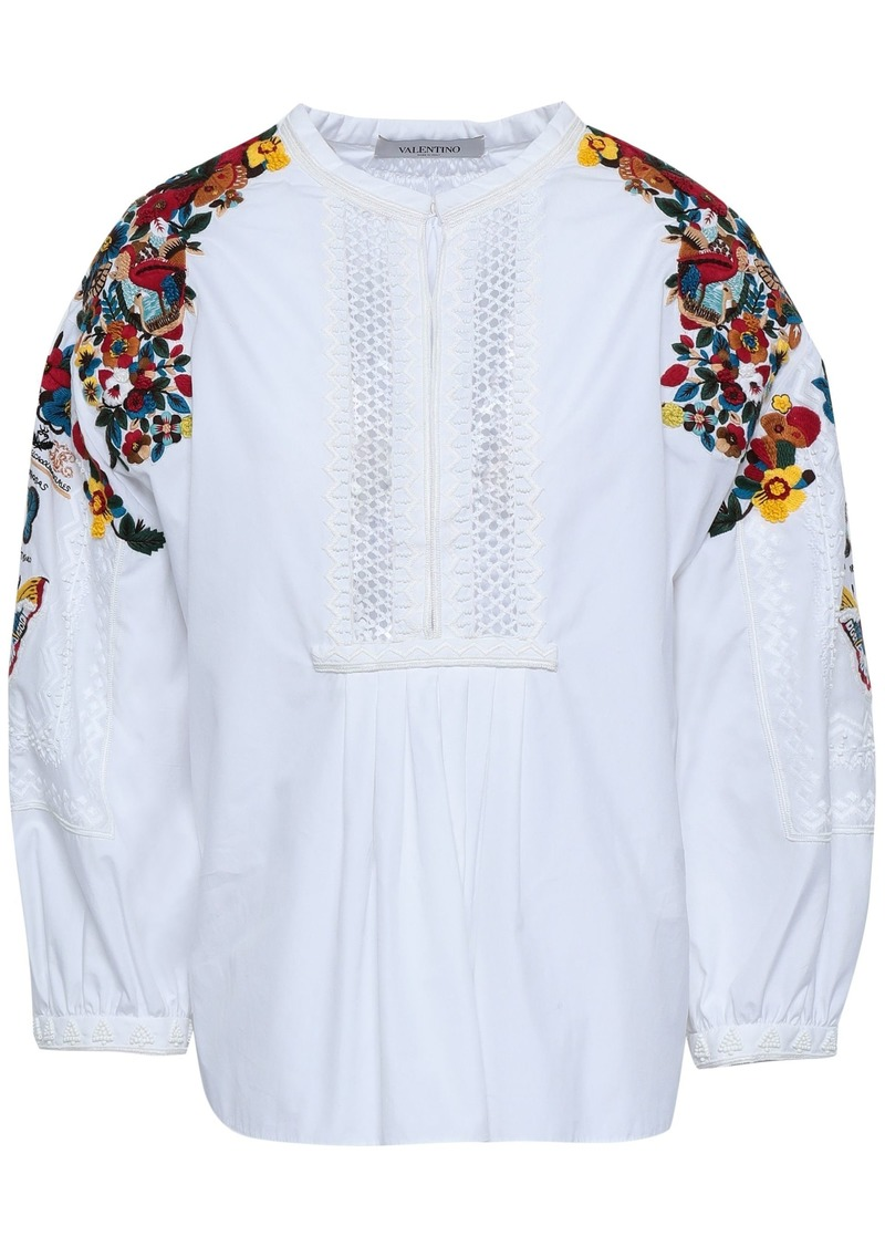 Valentino Woman Crochet-paneled Embellished Cotton-poplin Blouse White