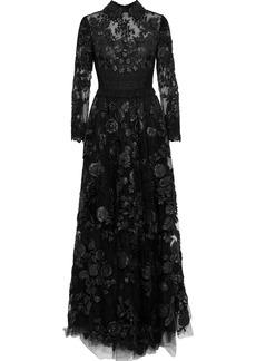 Valentino Woman Crochet-paneled Leather-appliquéd Lace Gown Black