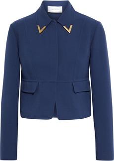 Valentino Woman Cropped Embellished Wool-crepe Jacket Storm Blue