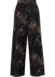 Valentino Woman Cropped Printed Cotton And Silk-blend Wide-leg Pants Black