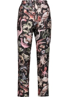 Valentino Woman Cropped Printed Silk-twill Tapered Pants Black