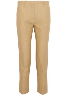 Valentino Woman Cropped Woven Flax Slim-leg Pants Pastel Yellow