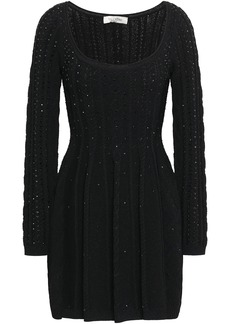 Valentino Woman Crystal-embellished Cable-knit Mini Dress Black