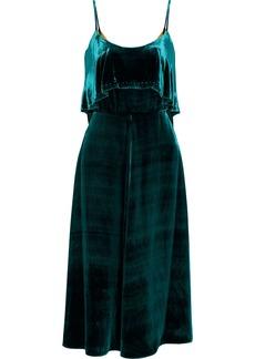 Valentino Woman Crystal-embellished Ruffled Velvet Midi Dress Petrol