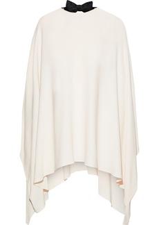 Valentino Woman Cutout Draped Bow-embellished Silk Crepe De Chine Blouse Ivory