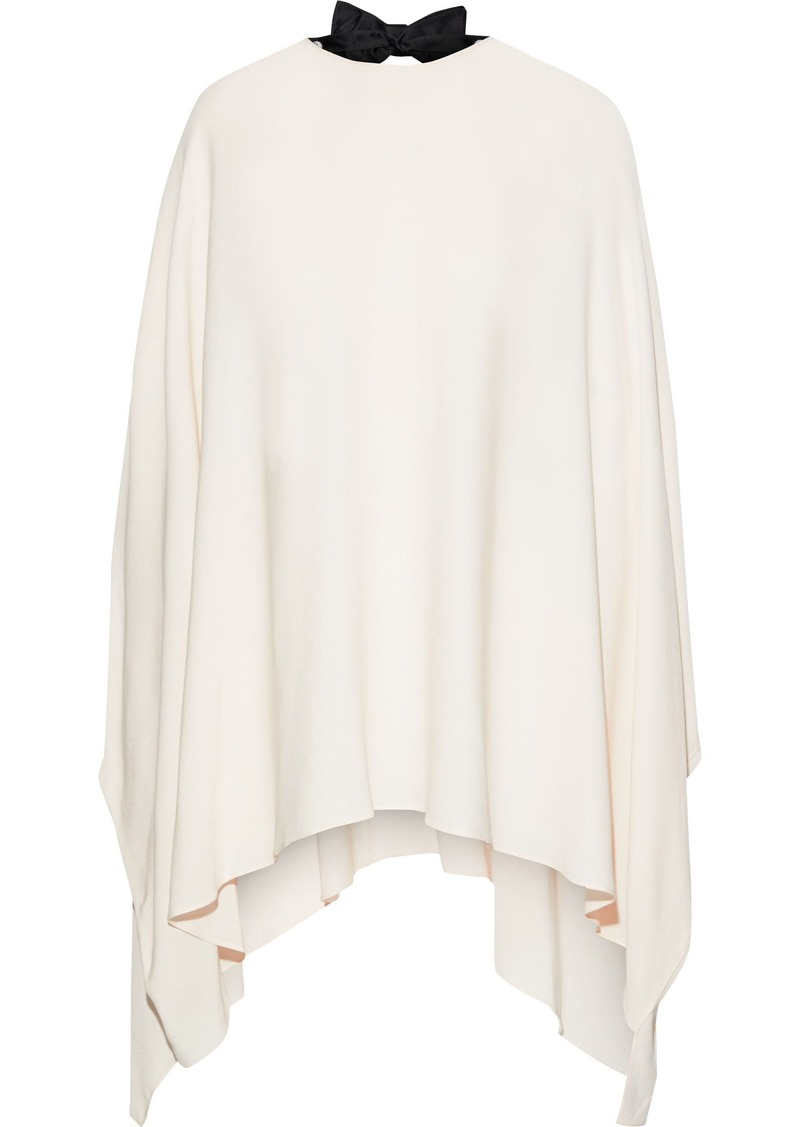 Valentino Woman Cutout Draped Bow-embellished Silk Crepe De Chine Blouse Ivory