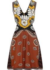 Valentino Woman Cutout Jacquard-knit Mini Dress Brick