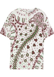 Valentino Woman Cutout Printed Crepe Top Off-white