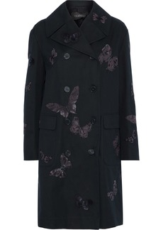 Valentino Woman Double-breasted Appliquéd Cotton-gabardine Coat Black