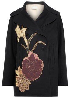 Valentino Woman Double-breasted Appliquéd Wool-felt Coat Black