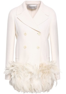 Valentino Woman Double-breasted Feather-trimmed Wool-blend Felt Jacket Off-white