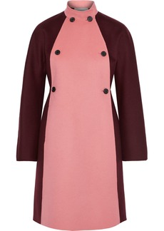 Valentino Woman Double-breasted Two-tone Wool And Cashmere-blend Felt Coat Pink
