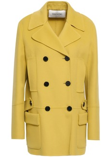 Valentino Woman Double-breasted Wool And Cashmere-blend Coat Chartreuse