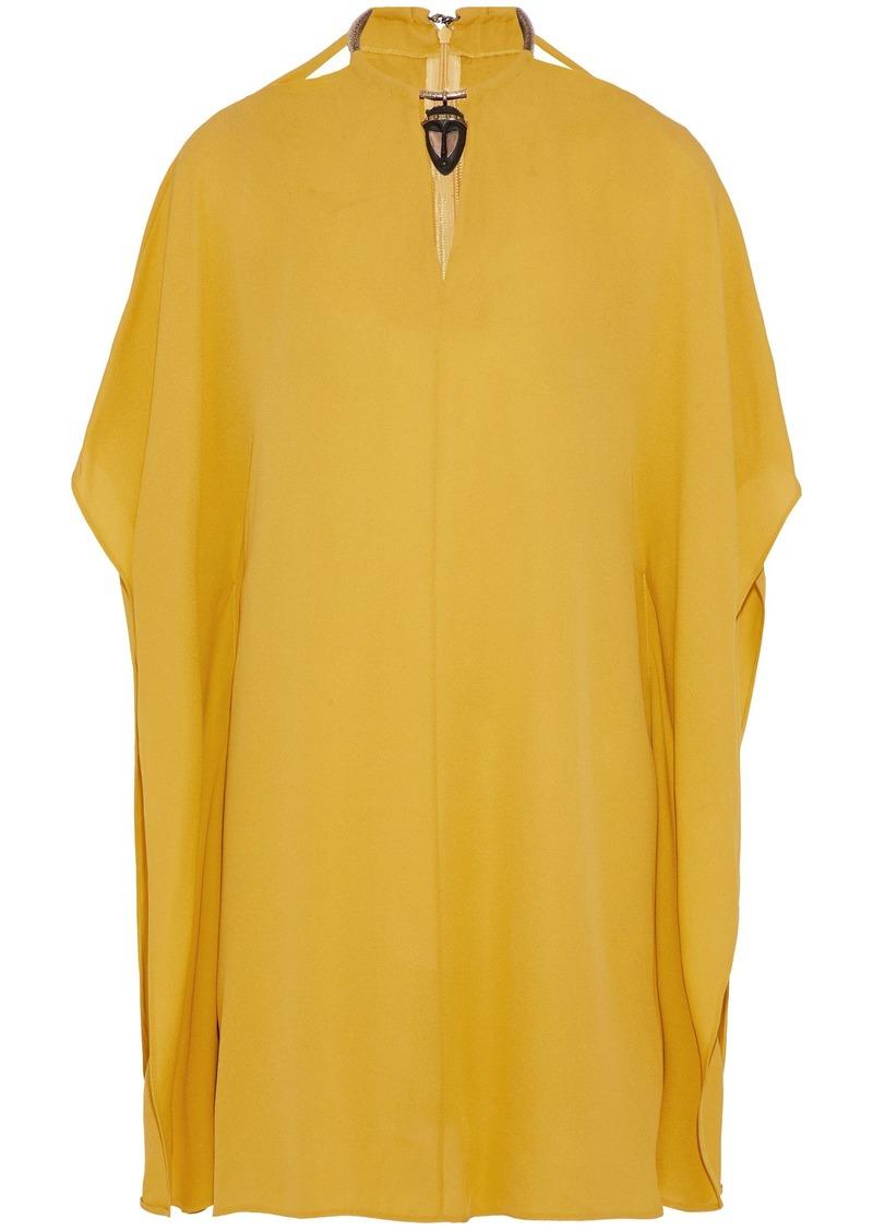Valentino Woman Draped Embellished Stretch-silk Crepe De Chine Mini Dress Saffron