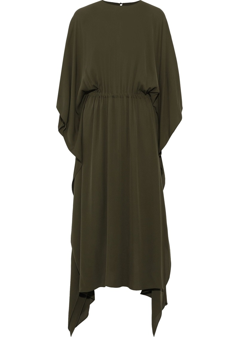 Valentino Woman Asymmetric Draped Silk-crepe Midi Dress Army Green