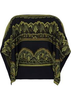 Valentino Woman Draped Jacquard-knit Top Sage Green