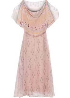 Valentino Woman Draped Printed Silk-georgette Midi Dress Blush