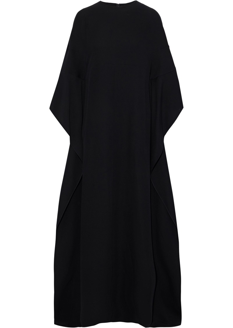 Valentino Woman Draped Silk-blend Crepe Gown Black