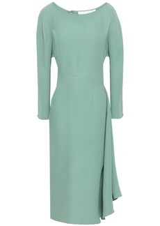 Valentino Woman Draped Silk-crepe Midi Dress Mint