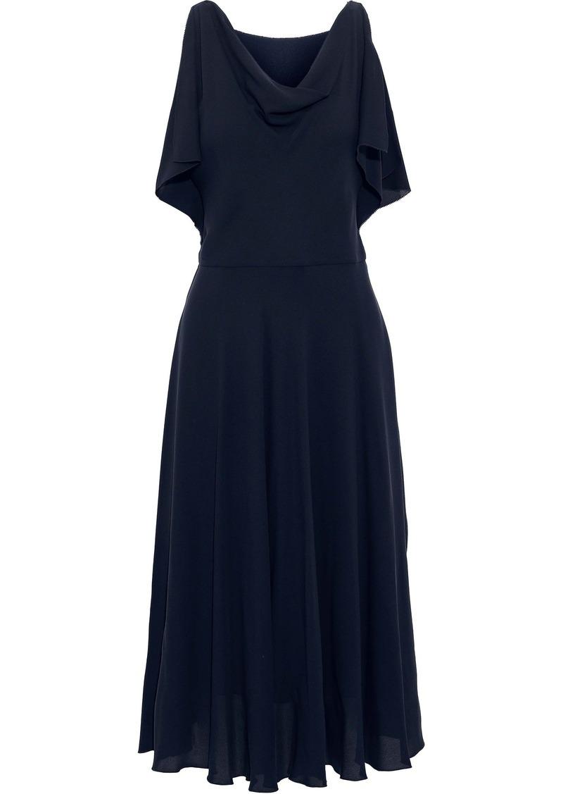 Valentino Woman Draped Stretch-silk Crepe Midi Dress Navy