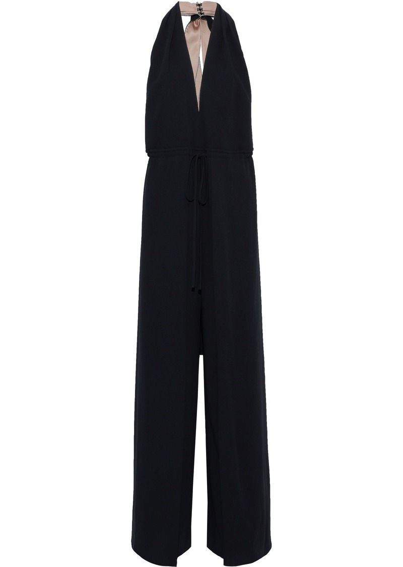 Valentino Woman Draped Wool-crepe Halterneck Jumpsuit Black