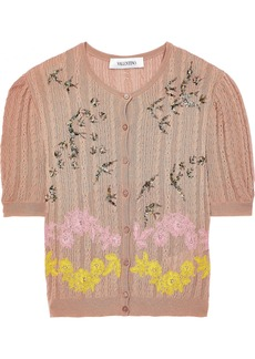 Valentino Woman Embellished Cable-knit Cotton-blend Cardigan Antique Rose