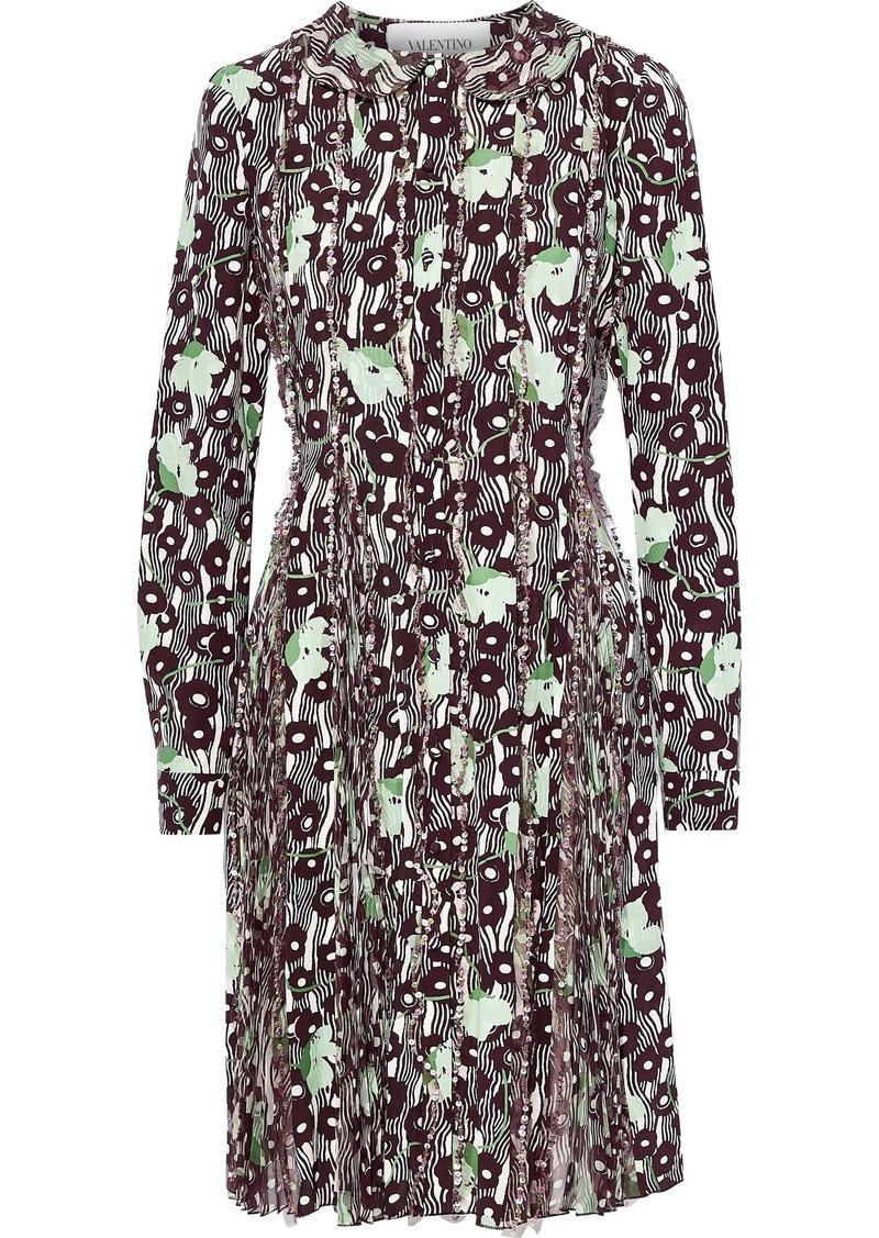 Valentino Woman Embellished Chiffon-paneled Printed Silk Crepe De Chine Dress Merlot