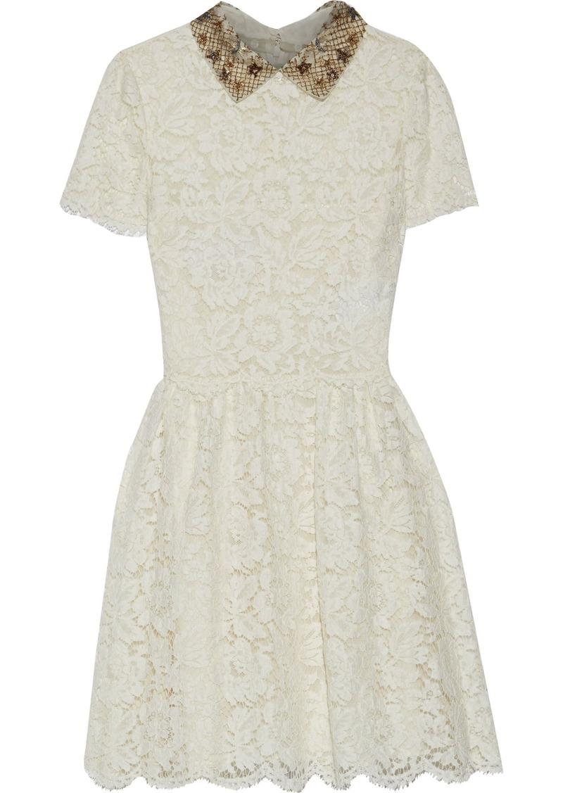 Valentino Woman Embellished Cotton-blend Corded Lace Mini Dress Ecru
