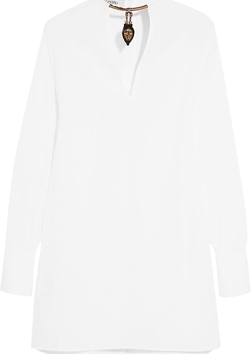 Valentino Woman Embellished Cotton-poplin Blouse White